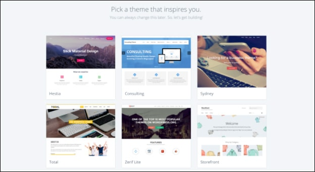 Bluehost themes you can choose from for free