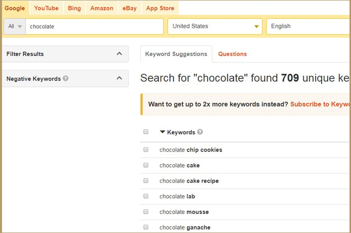 Keyword search tool for finding terms for a domain name