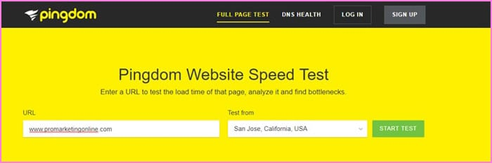Pingdom speed search tool