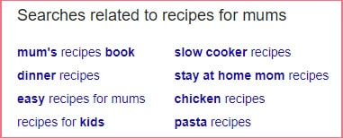 Recipes blog keyword research example